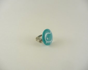 bird button wire wrapped ring