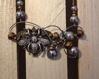 Silver and copper Bee Necklace