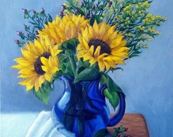 Sunflowers - sunflower print - oil painting - flower painting - floral art - still life