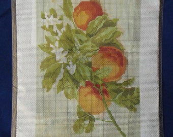 Printed Aida cotton canvas for cross stitch - Branch with peaches