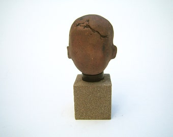 """Katsumi, unique ceramic sculpture, glazed and mounted on a wood block 5 1/2"""" tall"""