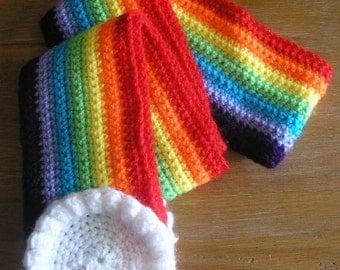 Child's Cute Crocheted Rainbow Scarf