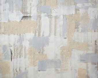 Large Abstract Acrylic Painting Textured Painting Tan Painting Grey Painting White Painting Modern Art Contemporary Art