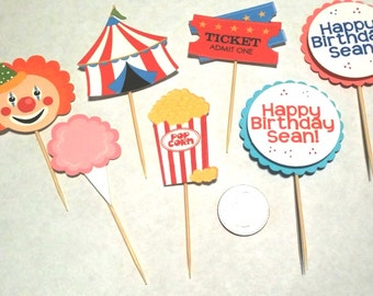 Big Top Circus / Carnival Theme Cupcake Toppers - 12 count