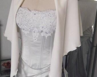 Ivory Silk Faille Wrap Drape with  Beaded Points