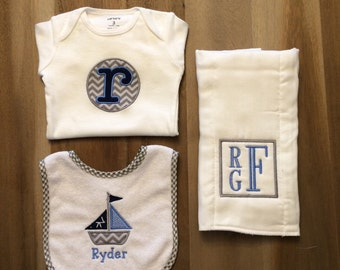 Ultimate Baby Gift Set [boys]: embroidered + personalized butp cloth, bib, onesie