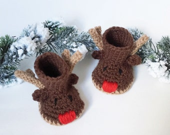 Christmas Baby Booties - Reindeer Baby Booties - Crochet Reindeer Baby Shoes - Christmas Baby Gift - Stocking Stuffer for Baby