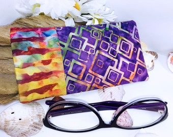 Batik Glasses Case, SUMMERTIME Sunglasses Case, Eyeglass Case, Glasses Pouch, Slip Style