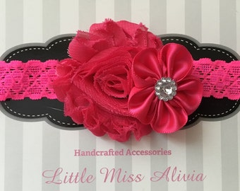 Pink or Yellow Double Flower Headband
