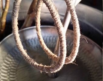 large hemp rolled earrings