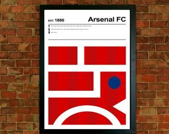 Arsenal Football Club Print, Football print, Mid Century Art, Modernist Typography Print, Childrens Bedroom Art, Boys Bedroom posters
