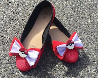 Handpainted cute Pokeball ballet flats shoes - Pokemon