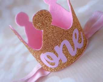 Tutu and Crown Set in Light Pink and Gold - Personalized Tutu