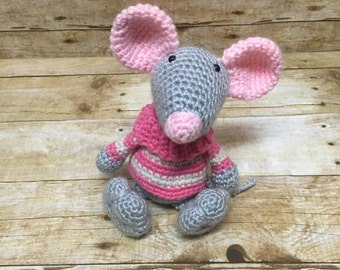 Crochet mouse - mouse amigurumi - stuffed mouse - toy mouse - mouse decoration - nursery decor - mouse stuffed animal - mouse with sweater