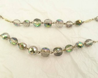 Vintage crystal bead double strand necklace
