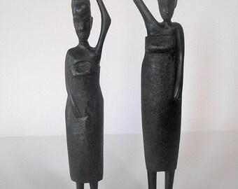 Vintage African Wood Figurines, Women Carrying Pots