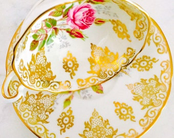 Paragon Pink Rose Golden Lace Tea Cup and Saucer