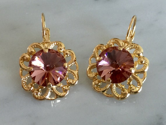 Swarovski Blush Rose Crystal Leverback Earrings