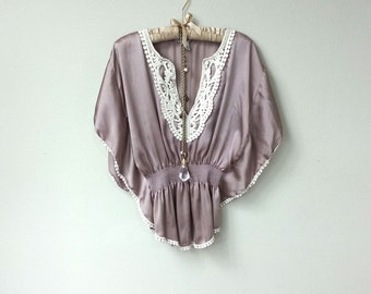 Silky Boho Rose Satin Taupe and Cream Lace Crochet Bat Wing Top, Dolman Sleeve, V Neck Bat Sleeve Blouse, with Cinched Waist, and Pom Poms