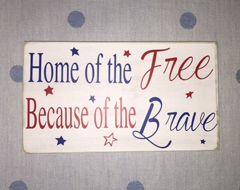 Home of the Free, Army Strong, Semper Fi, Navy, Marines, Soldier Gift, Military Gift, Wooden Sign, Military Sayings, Simply Fontastic