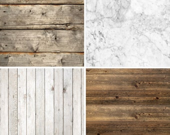 FREE EXPEDITED SHIPPING And Insurance ! Four 2ft x 2ft Vinyl Photography Backdrops for Product Photos, Marble, Brown And White Wood Fl92