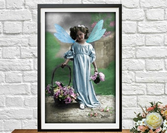 Fairy Digital Blue Flower Altered  Vintage Victorian Child Ephemera Collage Art Instant Download Printable  Image Scrapbooking Cards Digital