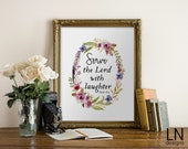 Instant 'Serve the Lord with laughter' Padre Pio Quote Printable Sign 8x10 Home Decor Faith Print