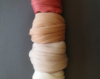 Merino Wool top roving pack - Blush scale