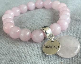 ROSE QUARTZ HEALING Gemstone Bracelet - by Miss Positive Jewellery