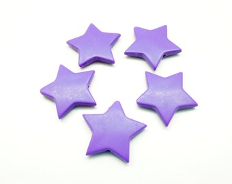 Lot 10 starry beads purple matte frosted, acrylic, 27.5 * 5 mm