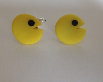 Pacman, handmade, fimo cufflinks. Great for fathers day . Retro, gaming.