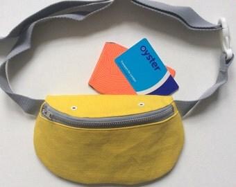 Yellow bumbag, hip bag, fanny pack, cotton canvas handmade