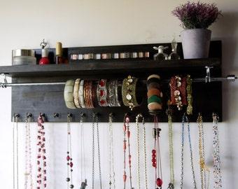 Necklace holder Jewelry organizer with shelf.  wall mounted necklace storage. Jewelry storage. BLACK stain.  Bracelet holder. Many COLORS.