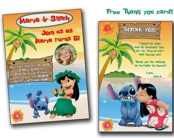 Lilo and Stitch invitation,Lilo and Stitch Birthday Invitation, Lilo and Stitch Invite, Invitations, Printables, Party, Download Customized