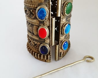 "Tall Kuchi Afghan Tribal Brass Cuff Ethnic Adornment Unique Sizing 7"" Hand Size"