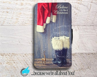 Samsung Wallet Phone Case -Santa Christmas Phone case for Samsung Note 3 Note 4 Note 5 Grand Prime or J5 Can add Monogram or Name