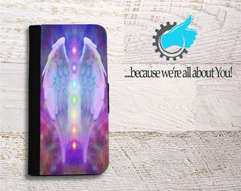 Angel Wing Chakra Samsung Wallet Phone Case-for Galaxy S5 S6 S7 S8 Edge Neo and Plus - Can add initials, Name or Favorite Quote!