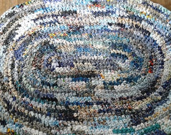 Blue hand crocheted rug
