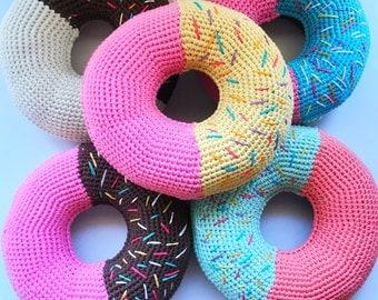 Two tones colour crochet donut cushion