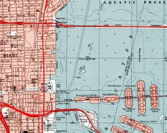 Miami Art, Miami Print, Vintage Map, Beach House Decor, Miami Map, Miami