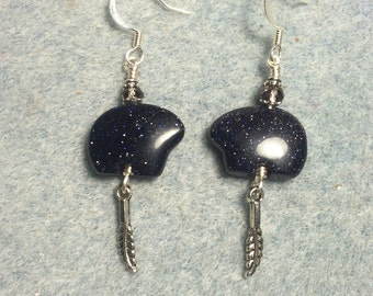 Blue goldstone gemstone Zuni bear fetish bead earrings adorned with tiny silver feather charms and purple crystal beads.