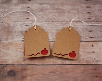 Die Cut Apple and Worm Tag