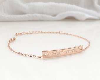 Bridesmaid jewelry flower girl gift Rose Gold Wedding Gift Women Name Bracelet Flower Girl Jewelry