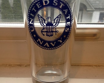 Navy Glass, Navy Beer Glass, Navy Pint Glass, United States Navy Beer Glass, United States Navy Pint Glass,