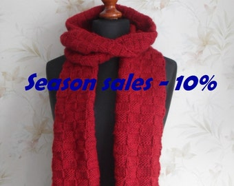Women hand knitted cherry red scarf/ neck warmer