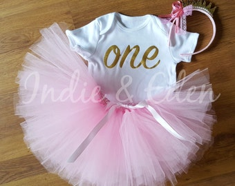 Baby girls 1st Birthday tutu birthday pink personalised gold silver one set crown photo prop cake smash