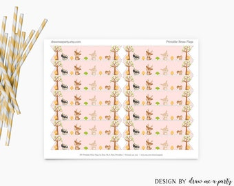 Woodland Girl Baby Shower Decorations , Woodland Girl Birthday Party Decoration , Woodland Straw Flags Printable , Instant Download