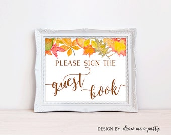 Fall Guest Book Sign, Autumn Baby Shower Decorations, Please Sign The Guest Book Sign, Fall Baby Shower Decorations, Buffet Sign, Printable