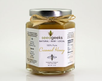 Artisan Raw Creamed Honey - 8oz - All natural, treatment free
