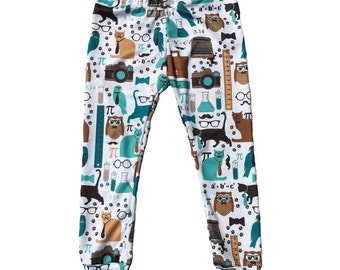 Nerdy Piece of Pi Kitty Cat • Cuffed Leggings • Infant Baby Toddler • Custom • Handmade to Order